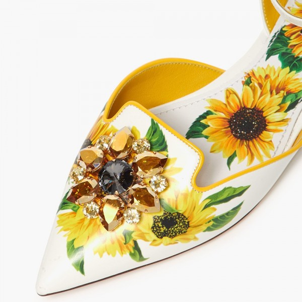 White Floral Ankle Strap Comfortable Flats image 2