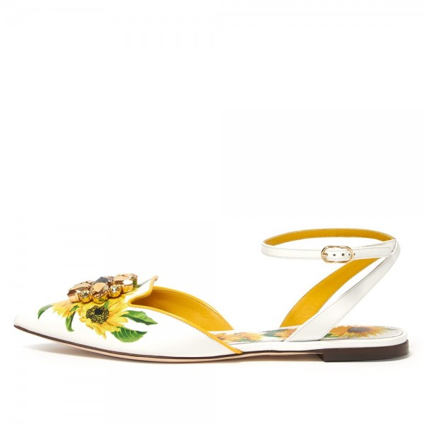 White Floral Ankle Strap Comfortable Flats image 1