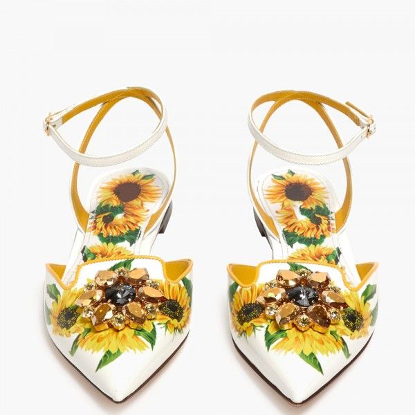 White Floral Ankle Strap Comfortable Flats image 4