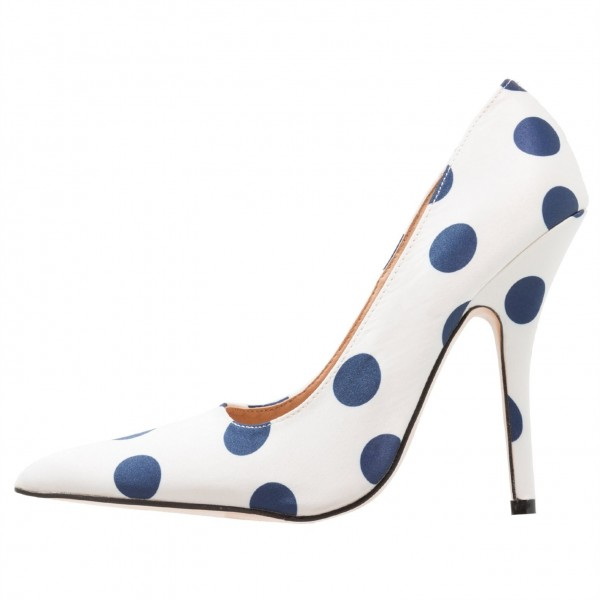 White Floral Heels Navy Polka Dots Pointy Toe Stiletto Heel Pumps image 2
