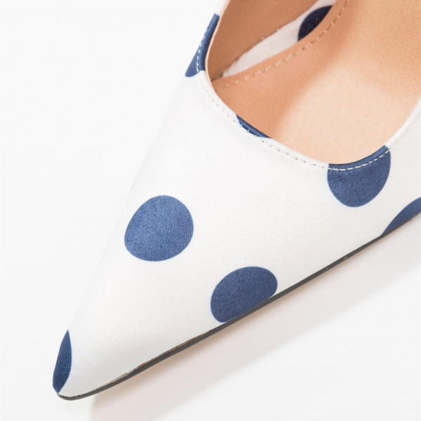 White Floral Heels Navy Polka Dots Pointy Toe Stiletto Heel Pumps image 4