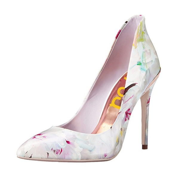 FSJ White Floral Heels Vegan Pointy Toe Stiletto Heel Pumps image 1