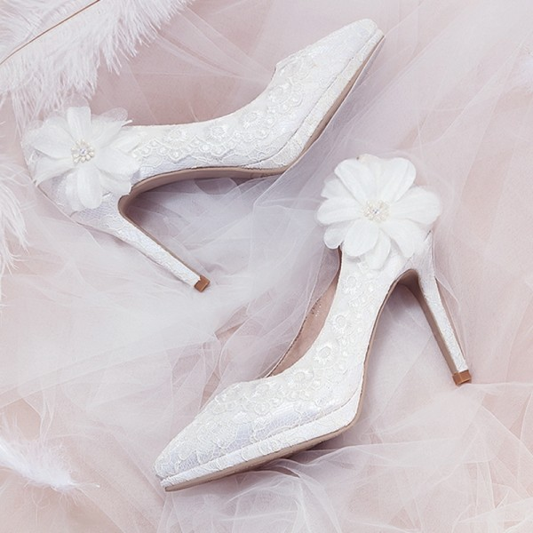 White Flower Pearl Lace Platform Stiletto Heel Bridal Shoes image 1