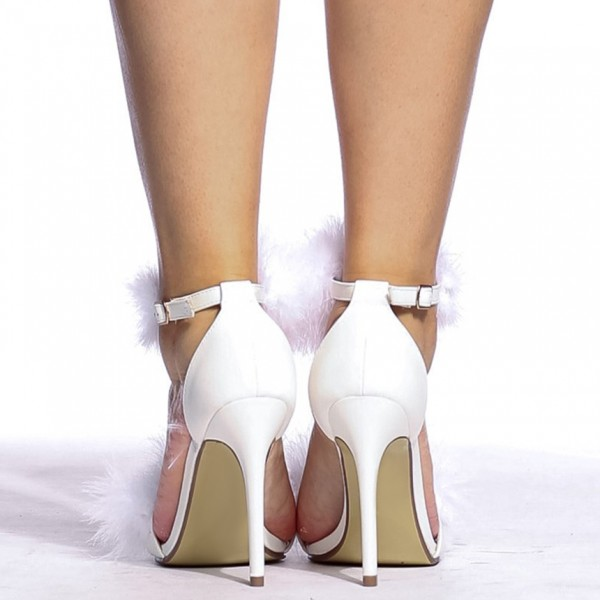 White Furry Heels Ankle Strap Open Toe Stiletto Heel Sandals image 5