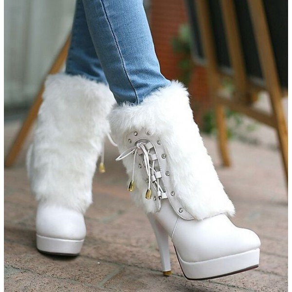 White Fur Boots Round Toe Platform Ankle Boots for Cold Weather image 4
