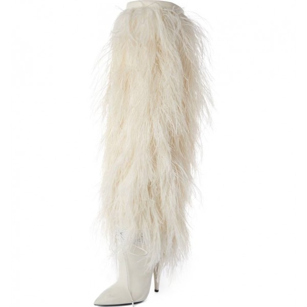 White Fur Boots Pointy Toe Cone Heels Knee-high Boots image 1