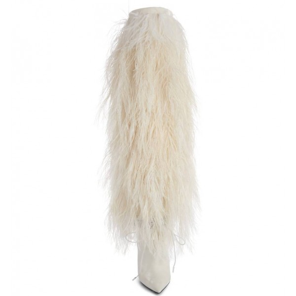White Fur Boots Pointy Toe Cone Heels Knee-high Boots image 2