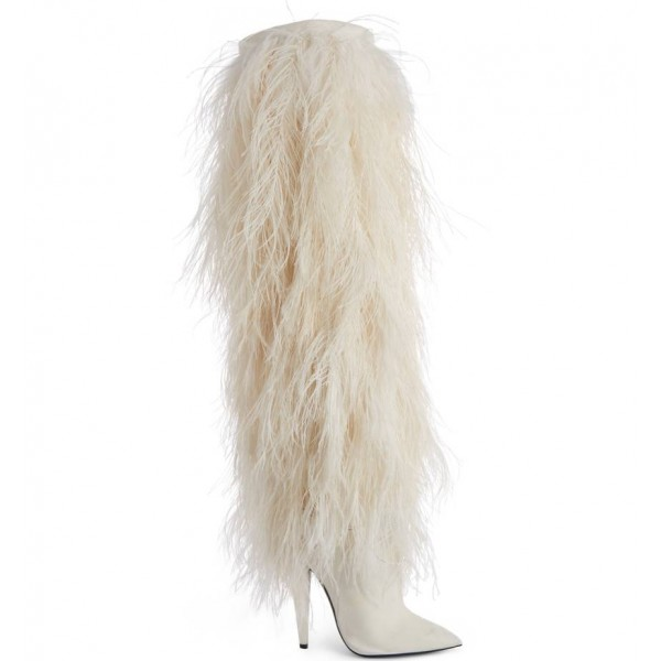 White Fur Boots Pointy Toe Cone Heels Knee High Boots For