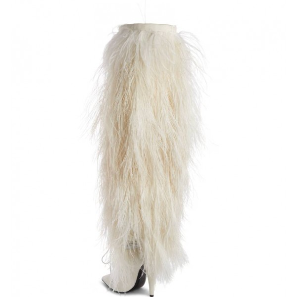 White Fur Boots Pointy Toe Cone Heels Knee-high Boots image 4