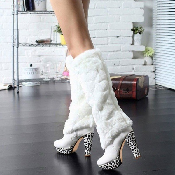 White Fur Boots Round Toe Chunky Heels Platform Mid-calf Boots image 4