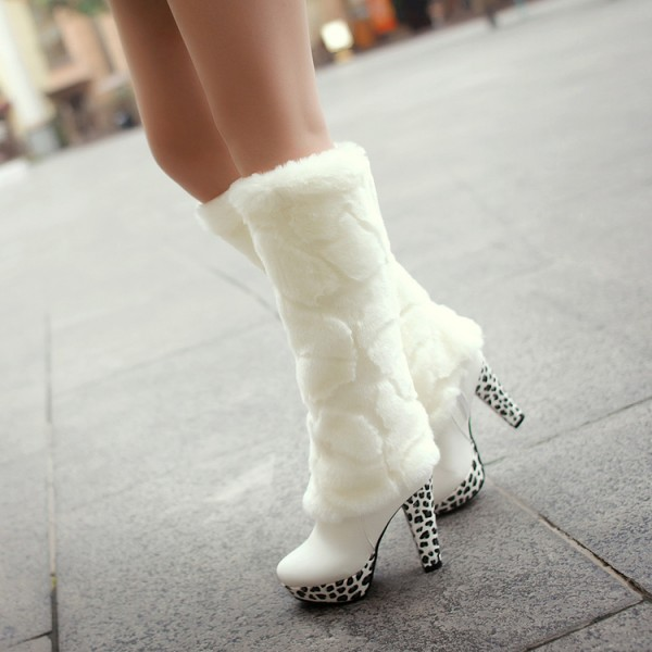 White Fur Boots Round Toe Chunky Heels Platform Mid-calf Boots image 1