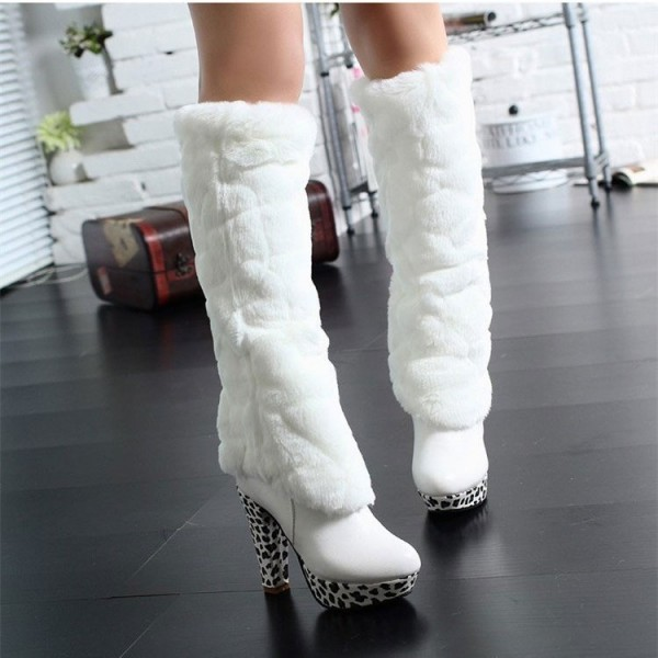 White Fur Boots Round Toe Chunky Heels Platform Mid-calf Boots image 2
