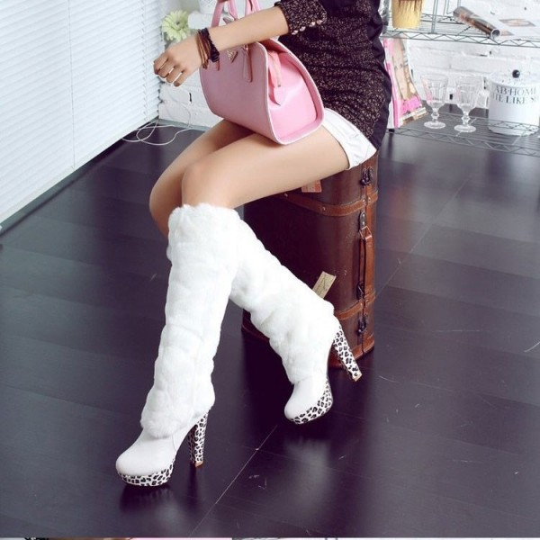 White Fur Boots Round Toe Chunky Heels Platform Mid-calf Boots image 3