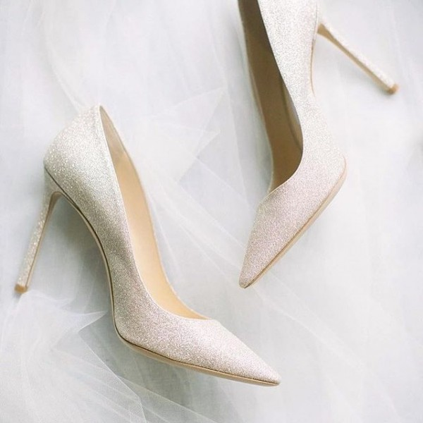 White Glitter Wedding Shoes Pointy Toe Stiletto Heels Pumps image 1