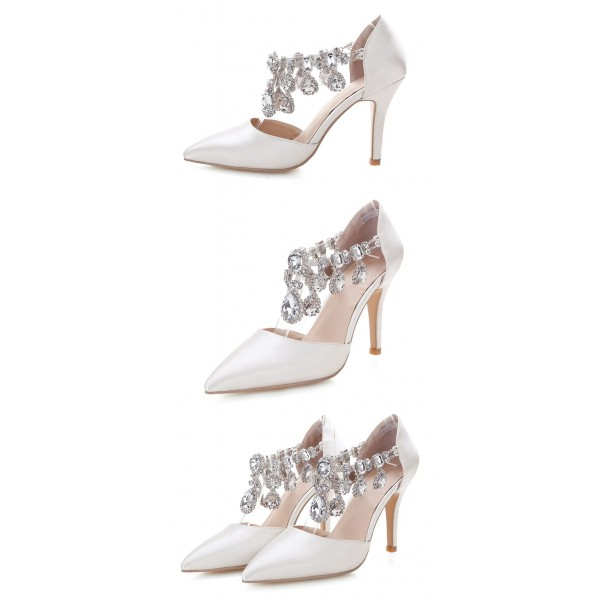 Women's White Rhinestone T-strap Stiletto Heels Wedding Shoes  image 3