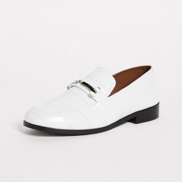 White Joint Chunky Heel Metal Loafers