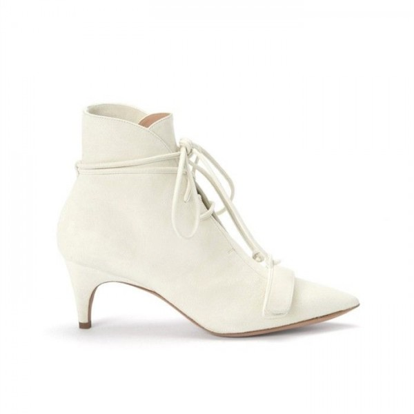 White Fashion Boots Kitten Heel Pointy Toe Strappy Ankle Booties image 2