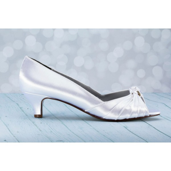 Women's White Satin Front Bow Kitten Heel Bridal Shoes image 3