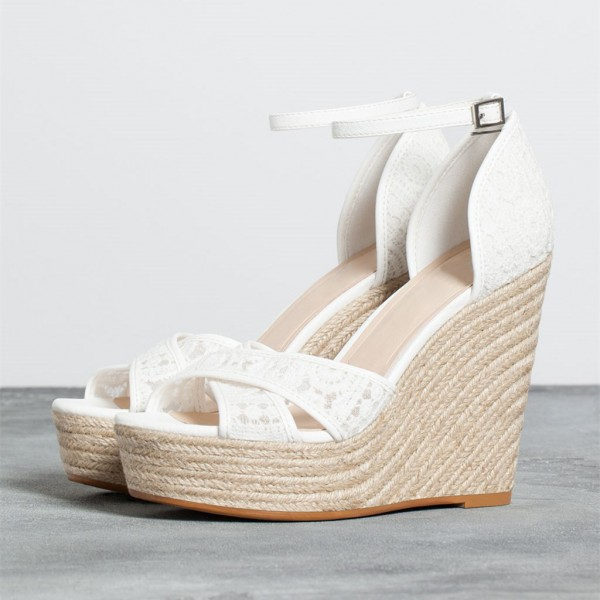 White Lace Ankle Strap Wedge Sandals with Platform  image 1