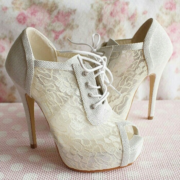 Women's White Lace Strappy Peep Toe Stiletto Heels Wedding Shoes image 2