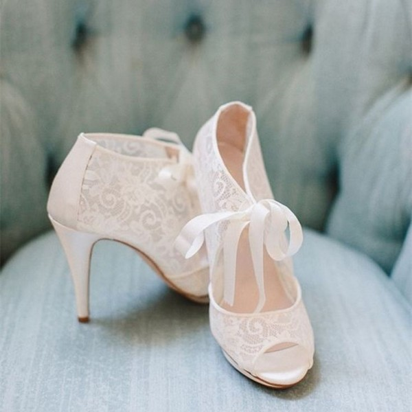 Fashion Ivory Lace Wedding Shoes Peep Toe Tie up Platform Pumps image 1