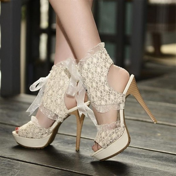 Beige Lace Heels Peep Toe Slingback Lace up Stiletto Heel Sandals image 1