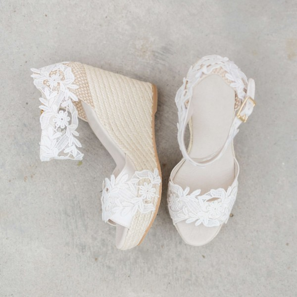 White Lace Wedding Wedges Open Toe Bridal Platform Sandals image 1