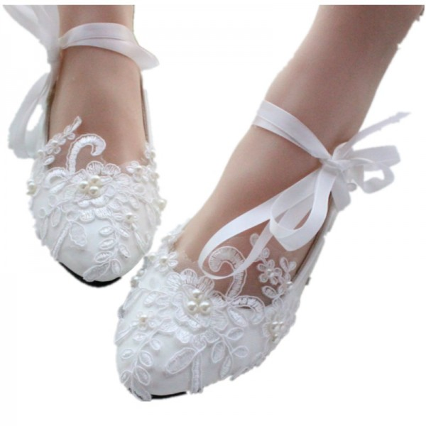 Women S White Wedding Shoes Lace Flora Stry Cute Bridal Image