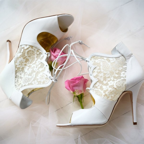 White Lace Peep Toe Wedding Shoes Lace Up Stiletto Heel Ankle Boots image 1