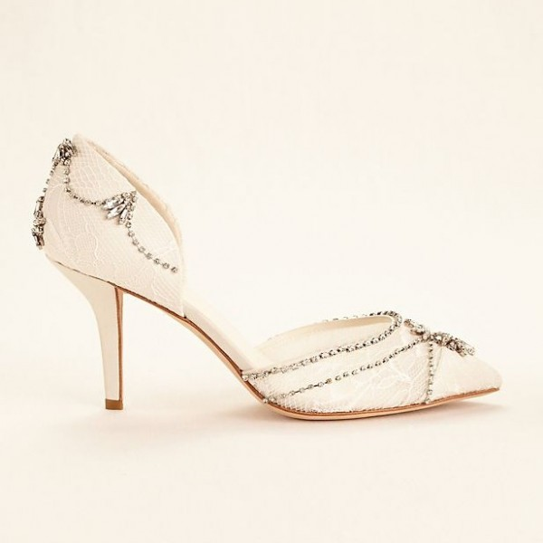 Lace Ivory Wedding Shoes Rhinestone Low Heel Bridal Shoes image 4