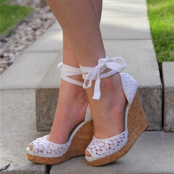 White Lace Strappy Platform Wedge Heel Bridal Sandals image 1