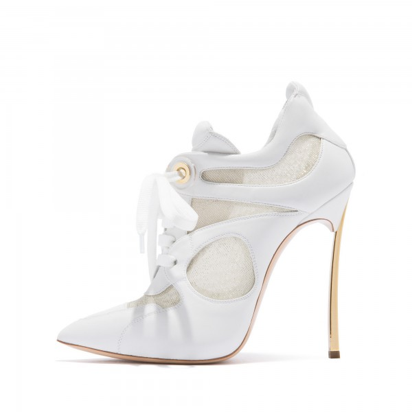 White Lace Up Boots Mesh Stiletto Heel Ankle Boots image 3