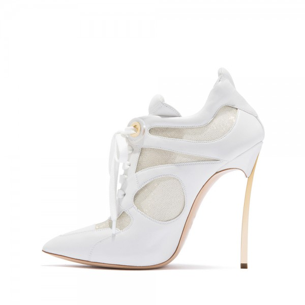 White Lace Up Boots Mesh Stiletto Heel Ankle Boots image 4