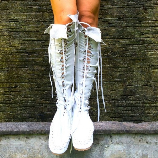 White Lace Up Boots Strappy Flat Knee High Boots image 1
