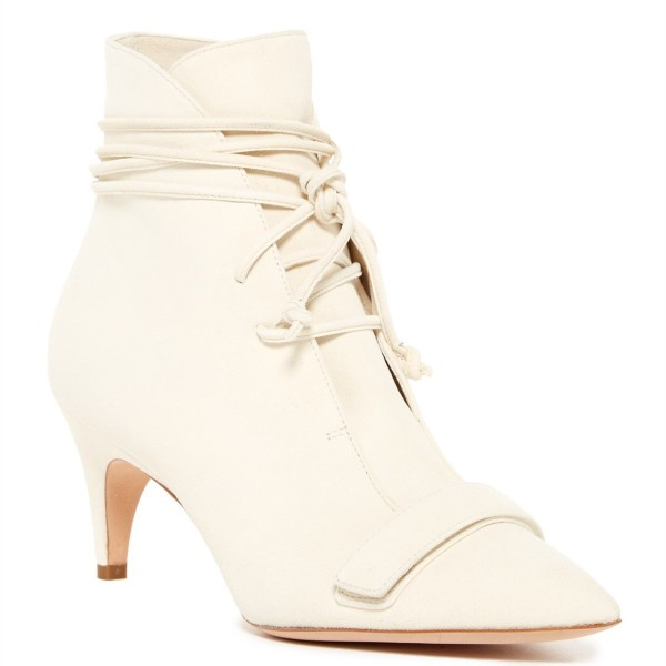 White Fashion Boots Kitten Heel Pointy Toe Strappy Ankle Booties image 3