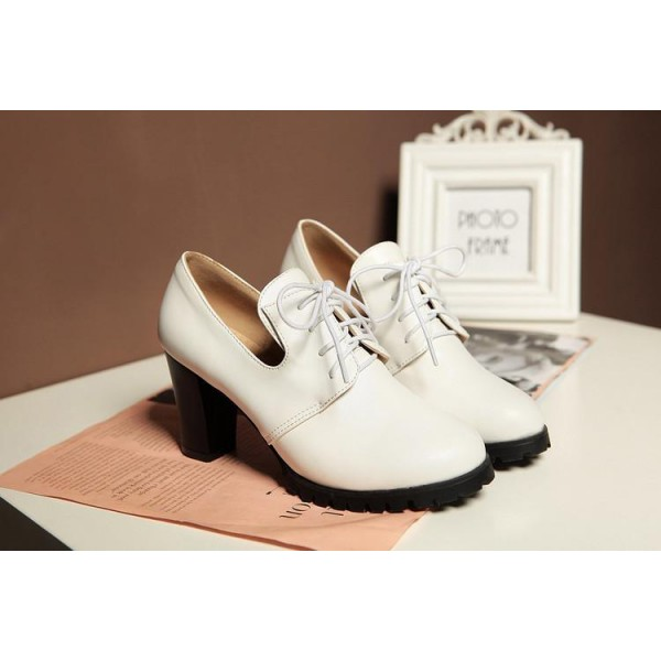 White Lace up Oxford Heels Round Toe Chunky Heel Vintage Shoes image 4