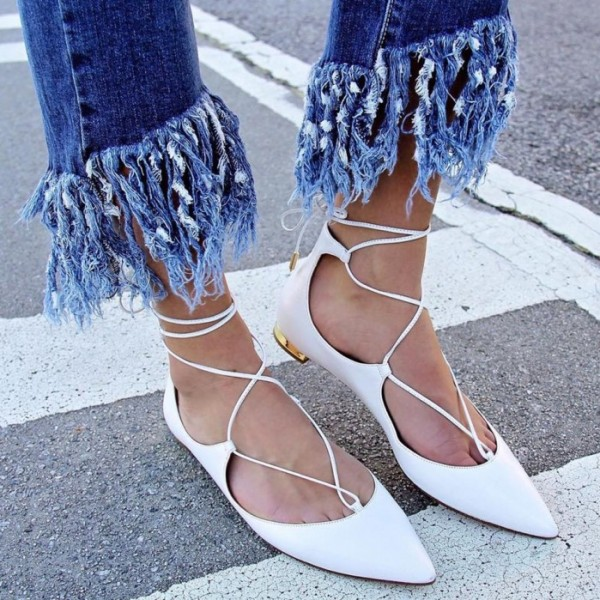 White Pointy Toe Lace up Flat Casual Shoes for Women image 5