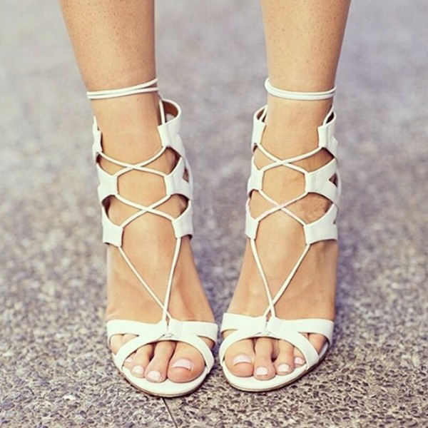 White Lace up Sandals Open Toe Stiletto Heel Strappy Sandals image 1