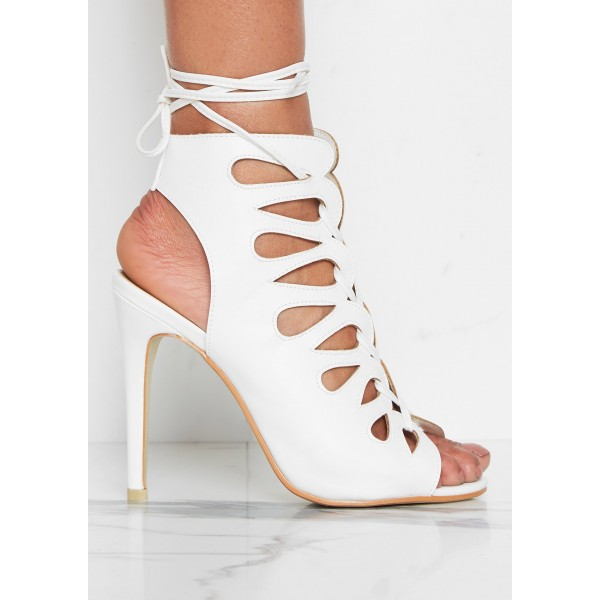 White Front Lace up Heels Peep Toe Strappy Stiletto Heels image 5