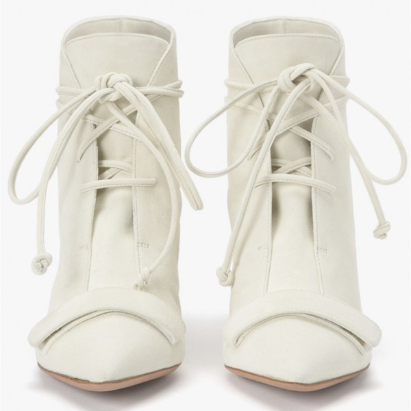 White Fashion Boots Kitten Heel Pointy Toe Strappy Ankle Booties image 4