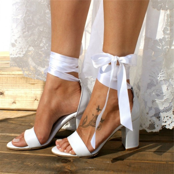 White Lace up Wedding Sandals Open Toe Strappy Block Heels image 2