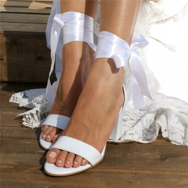 White Lace up Wedding Sandals Open Toe Strappy Block Heels image 3