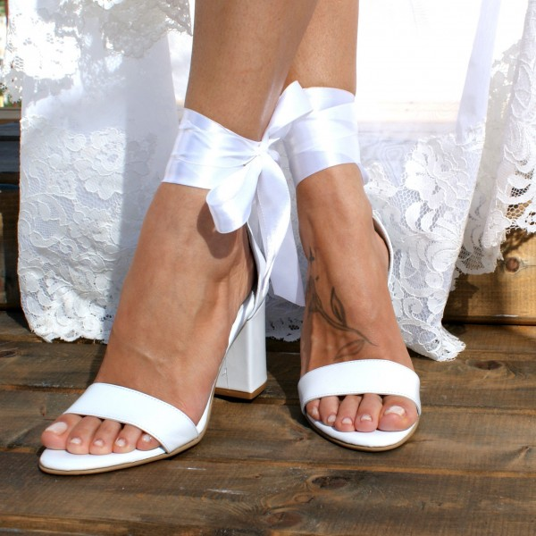 White Lace up Wedding Sandals Open Toe Strappy Block Heels image 4
