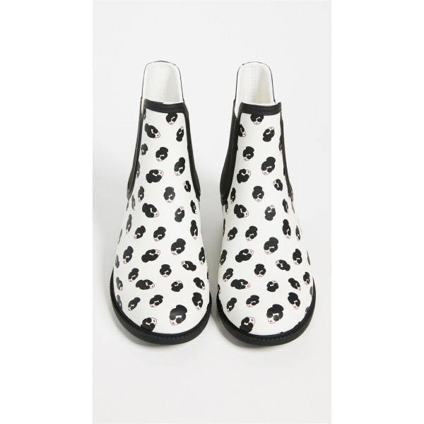 White Lady Face Floral Chelsea Boots Round Toe Flats Ankle Booties image 3