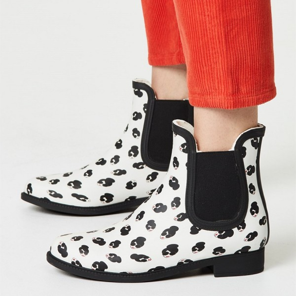 White Lady Face Floral Chelsea Boots Round Toe Flats Ankle Booties image 1