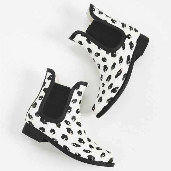 White Lady Face Floral Chelsea Boots Round Toe Flats Ankle Booties image 5