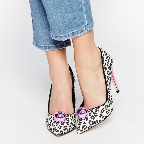 White Leopard Print Heels Suede Pumps With Ball image 1