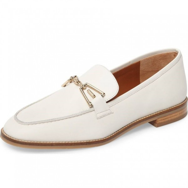 White Loafers for Women Round Toe Flats image 1