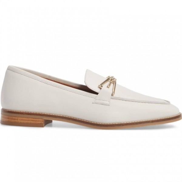 White Loafers for Women Round Toe Flats image 3