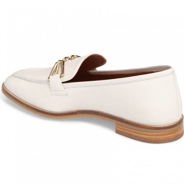 White Loafers for Women Round Toe Flats image 2